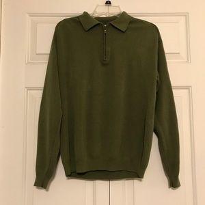 Tommy Bahama Dark Green Silk Pullover Sweater